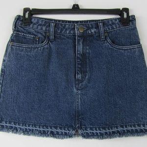 Free People denim mini skirt Dark Blue Raw Hem M